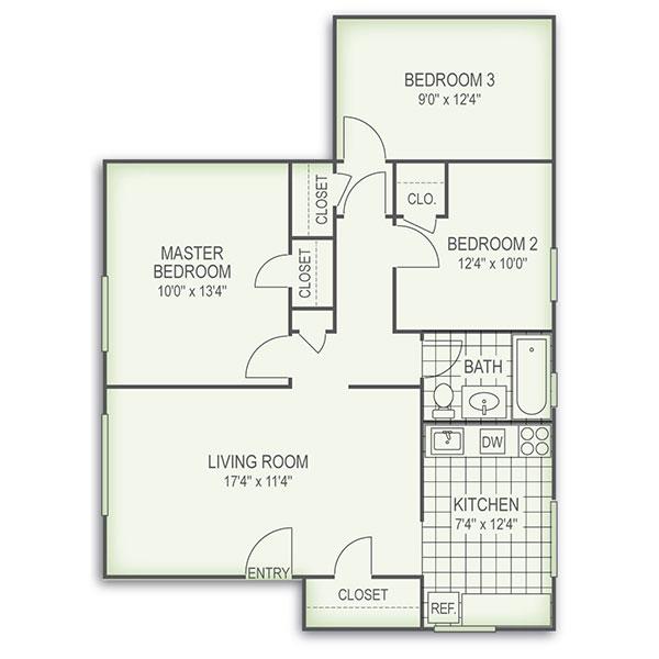 Floorplan - 3 Bed image