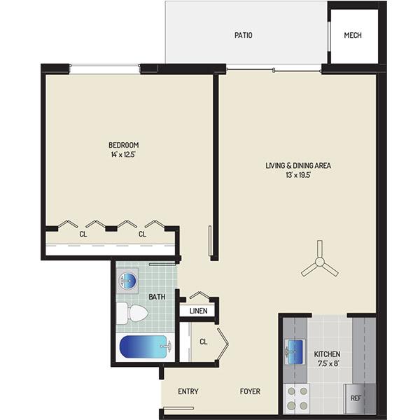 Columbia Park Apartments - Floorplan - 1 Bedroom + 1 Bath