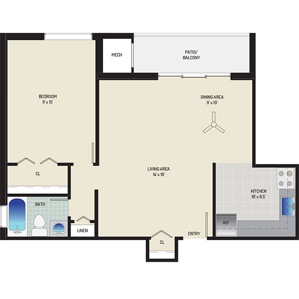 Columbia Park Apartments - Floorplan - 1 Bedroom + 1 Bath