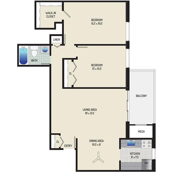 Columbia Park Apartments - Floorplan - 2 Bedrooms + 1 Bath