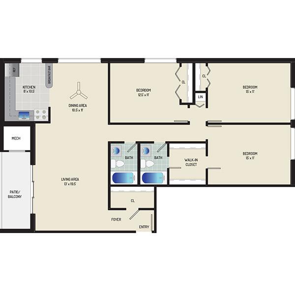 Columbia Park Apartments - Floorplan - 3 Bedrooms + 2 Baths
