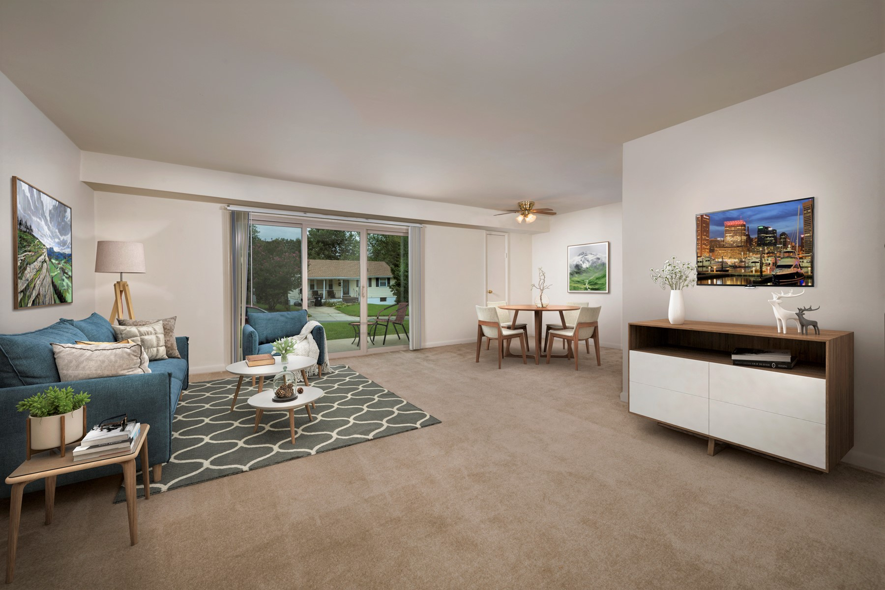 Spacious living and dining area at Columbia Park Apartments in Landover, MD
