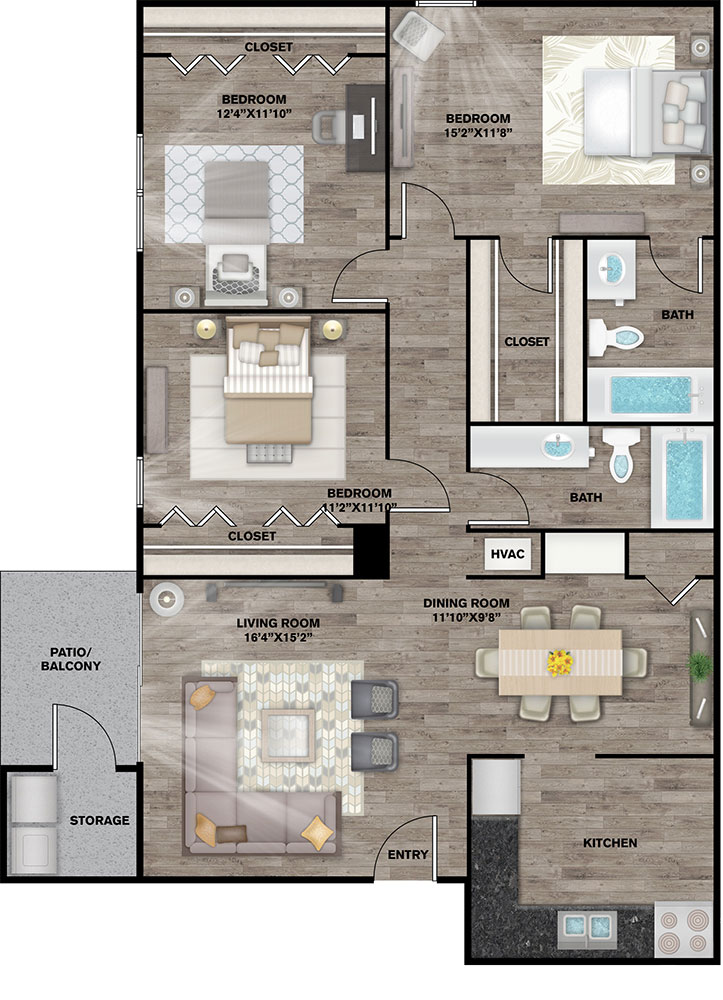 The Connally Apartments - Floorplan - Kathleen