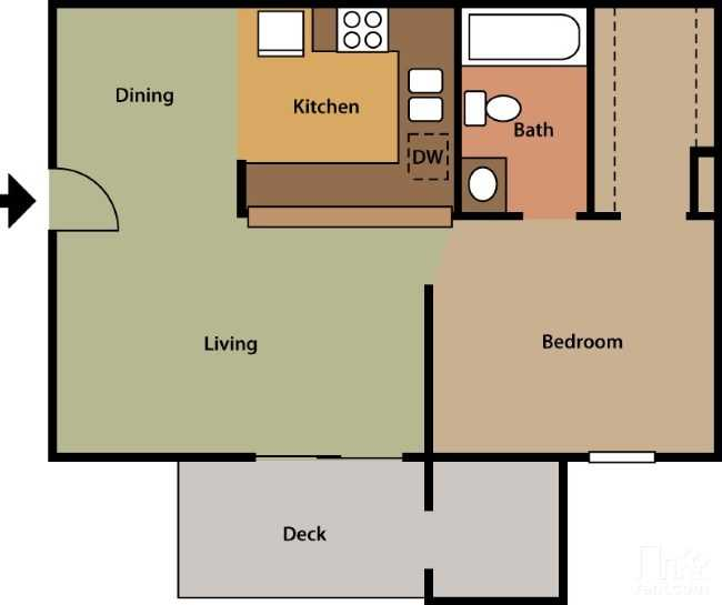 Floorplan - 1 Bed 1 Bath #1 image