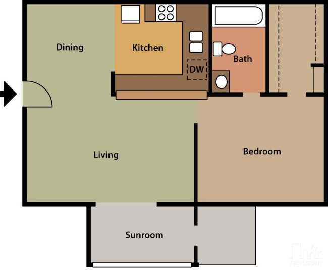 Floorplan - 1 Bed 1 Bath #2 image