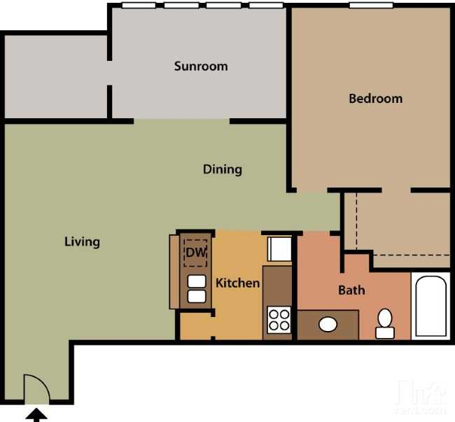 Floorplan - 1 Bed 1 Bath #5 image