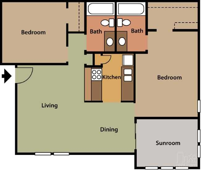 Copper Cove Apartments - Floorplan - 2 Bed 2 Bath #1