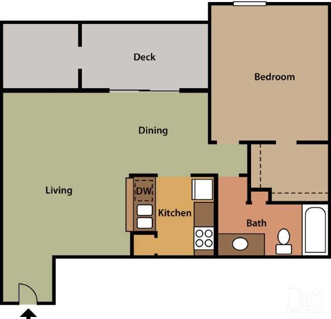 Floorplan - 1 Bed 1 Bath #3 image