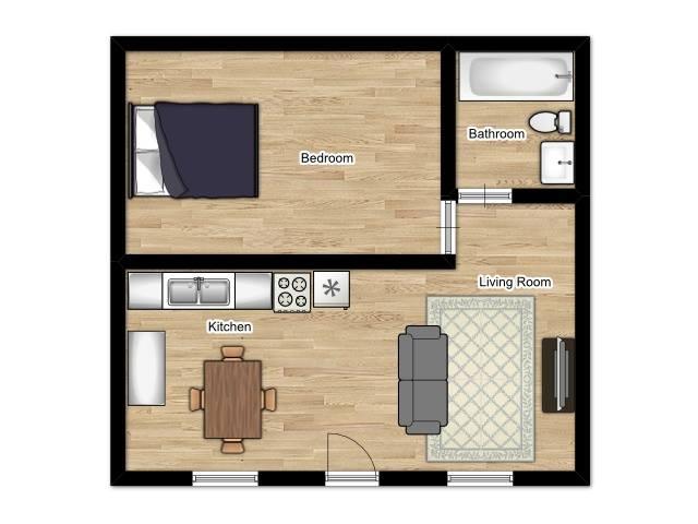 Coral Manor Apartments - Floorplan - 1 Bed 1 Bath