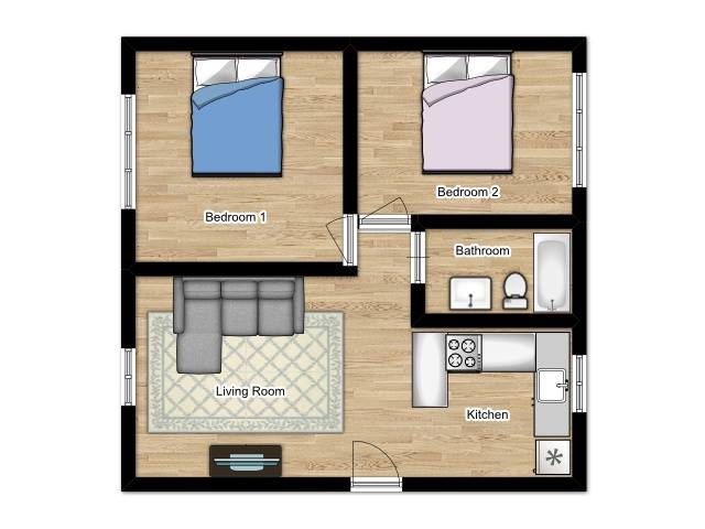 Coral Manor Apartments - Floorplan - 2 Bed 1 Bath