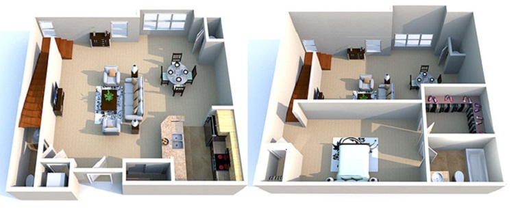 Floorplan - 1 Bedroom/1.5 Bathroom 2-Story Loft  image