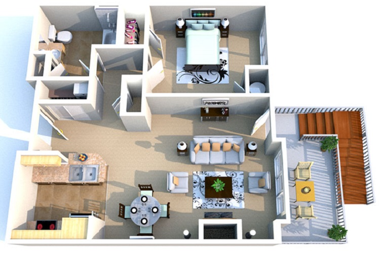 Floorplan - 1 Bedroom Ranch image