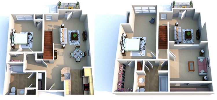 Floorplan - 2 Bedroom/2 Bathroom 2 Story-Loft image