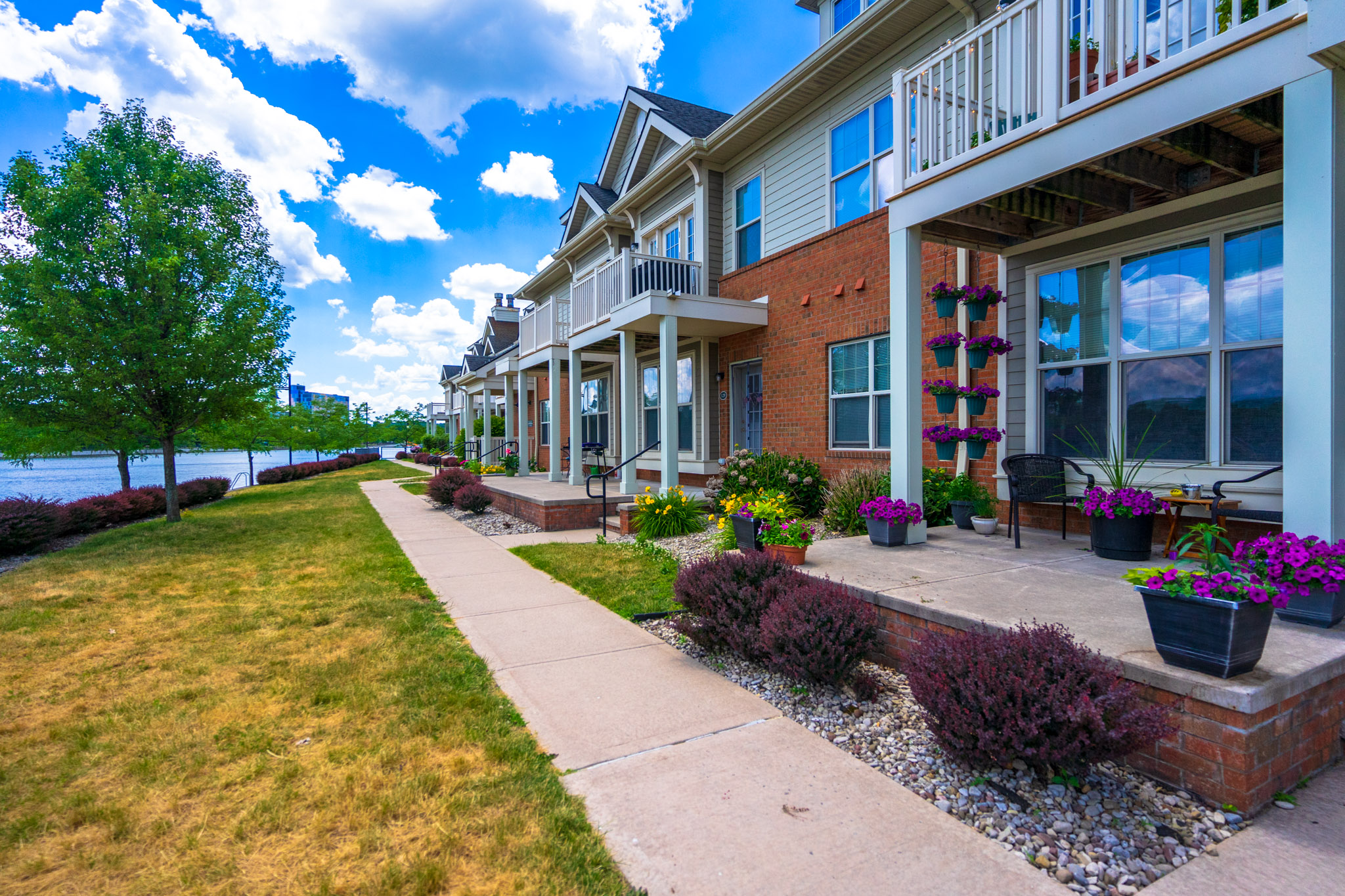 Exterior View at the Cornhill Landing Apartments in Rochester, NY