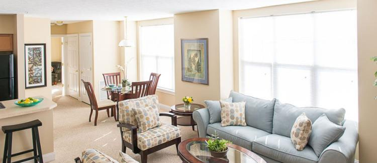 Living Room at the Cornhill Landing Apartments in Rochester, NY