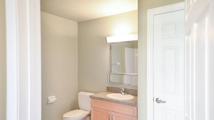 Bathroom Interior at the Cornhill Landing Apartments in Rochester, NY