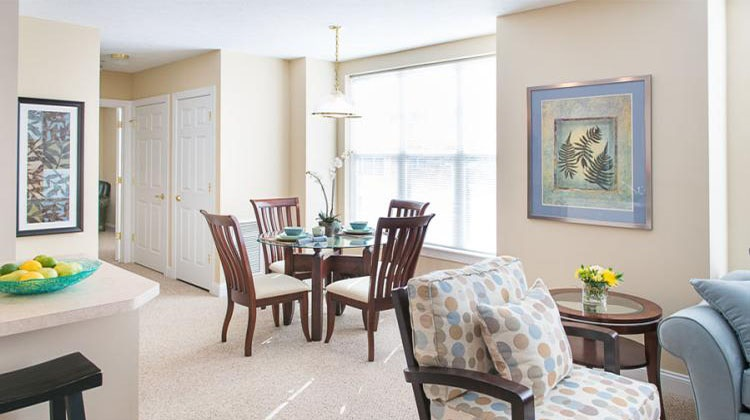 Dining Area at the Cornhill Landing Apartments in Rochester, NY