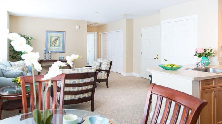 Living and Dining Area at the Cornhill Landing Apartments in Rochester, NY