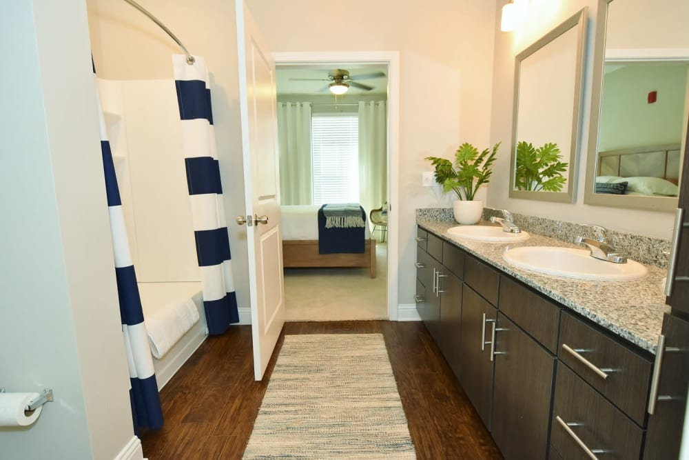 Double Vanity Bathroom at The Reserve at Couret Farms Apartments in Lafayette, LA