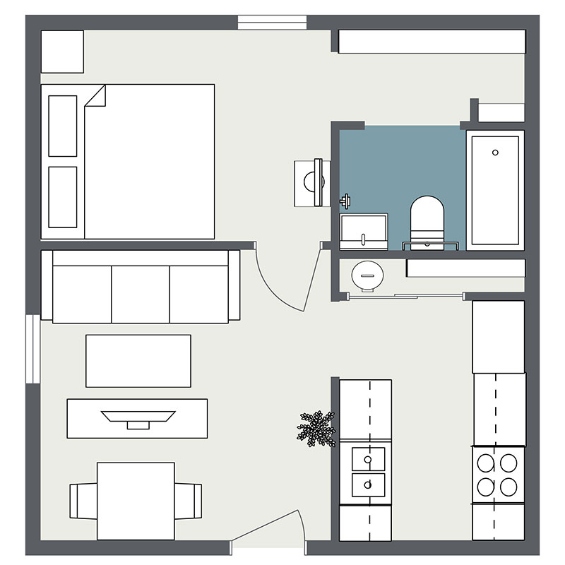 Floorplan - 1 Bedroom image