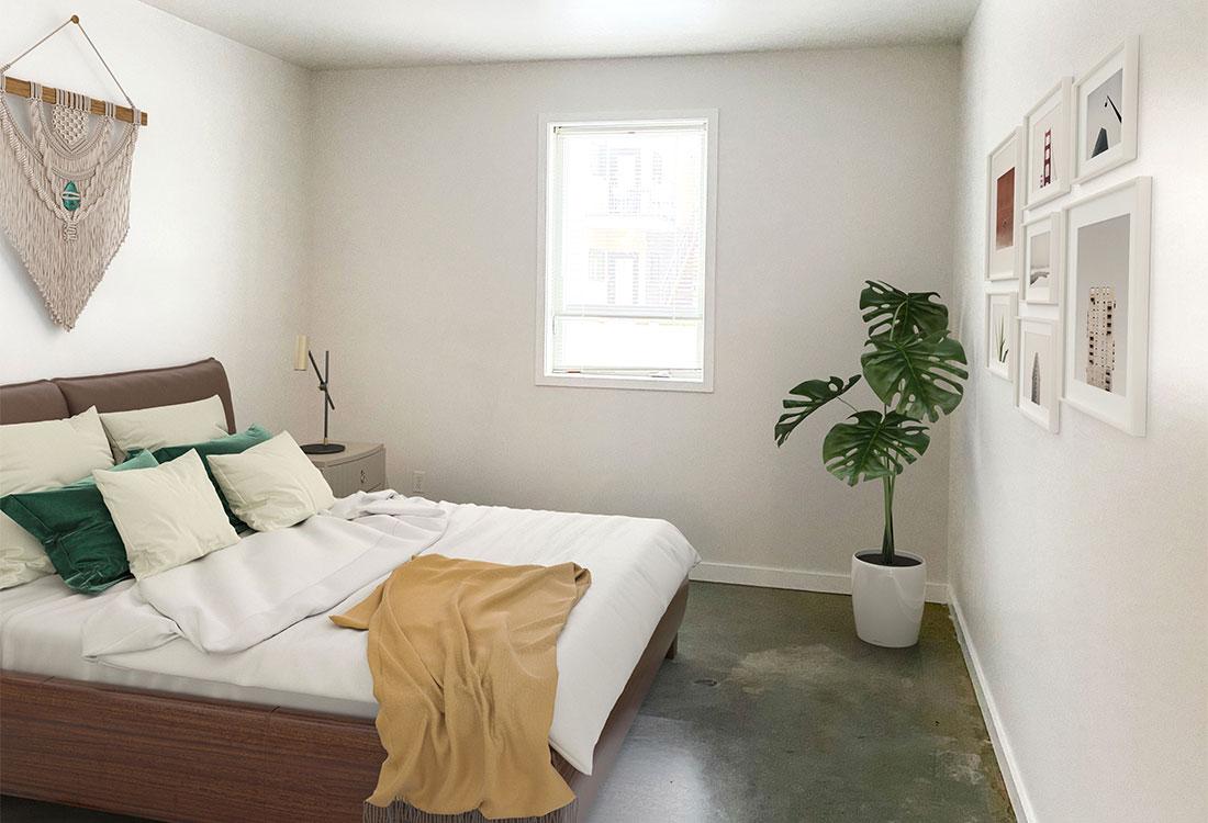 Spacious Bedrooms at CP Lofts Apartments in Kansas City, MO.