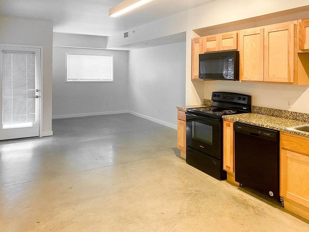 Fully-Equipped Kitchens at CP Lofts Apartments in Kansas City, MO.