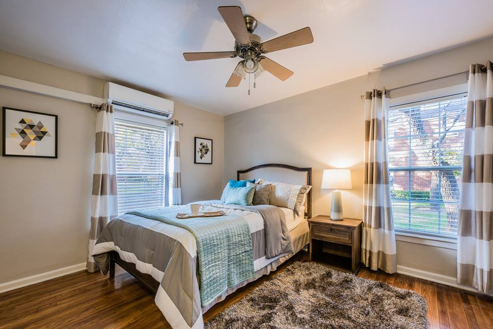 Ceiling Fan in Bedroom at Crestwood Place Apartments in Fort Worth, TX