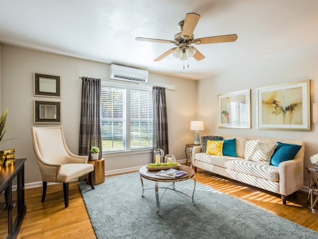 Ceiling Fan in Living Area at Crestwood Place Apartments in Fort Worth, TX