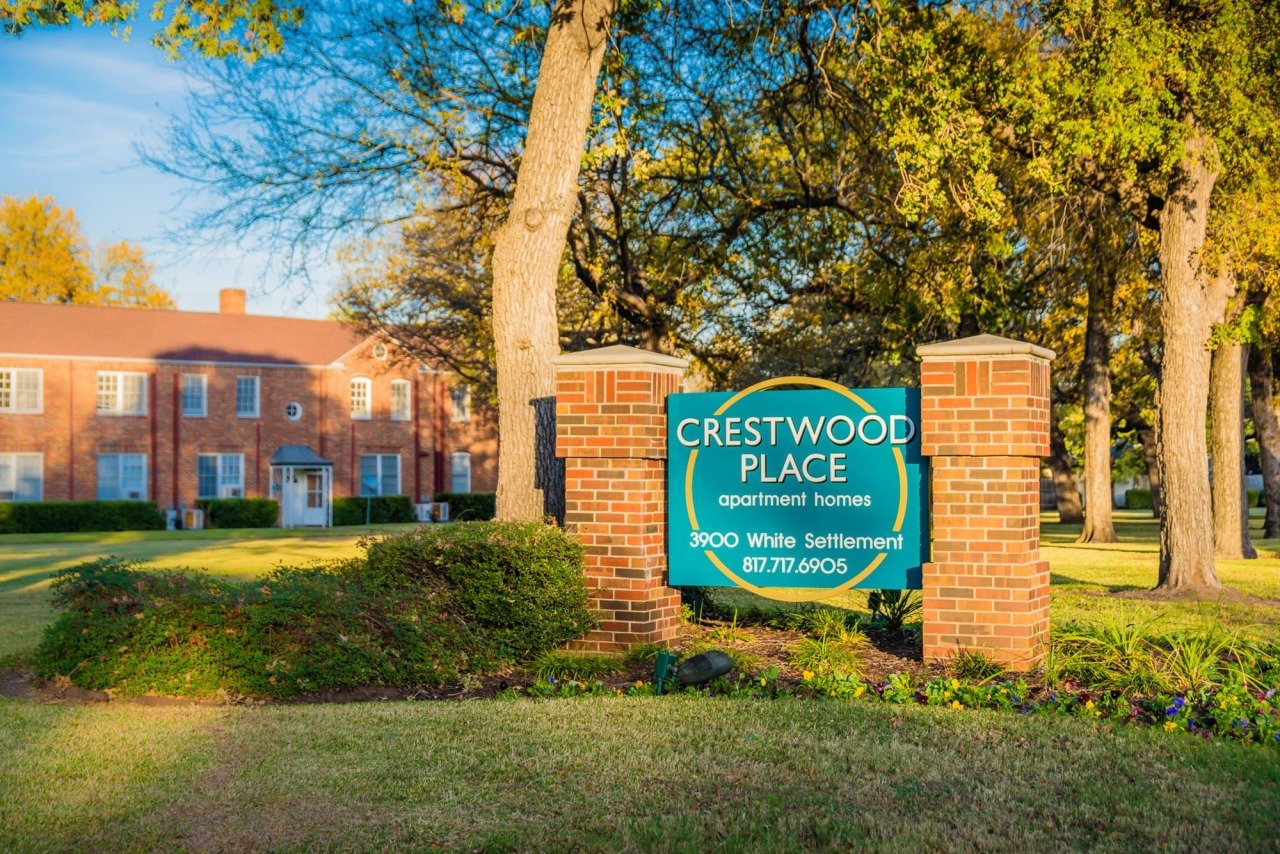 Welcome Signage at Crestwood Place Apartments in Fort Worth, TX