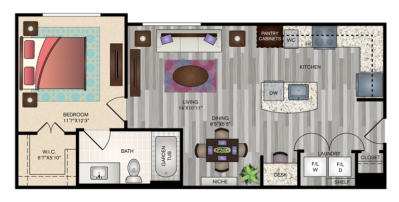 The Vue at Creve Coeur Apartments - Floorplan - A1