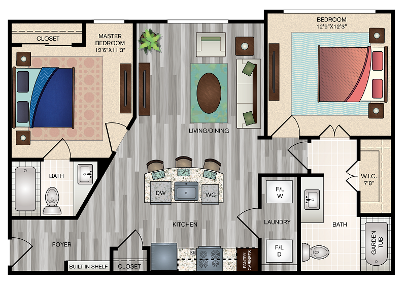 The Vue at Creve Coeur Apartments - Floorplan - B1