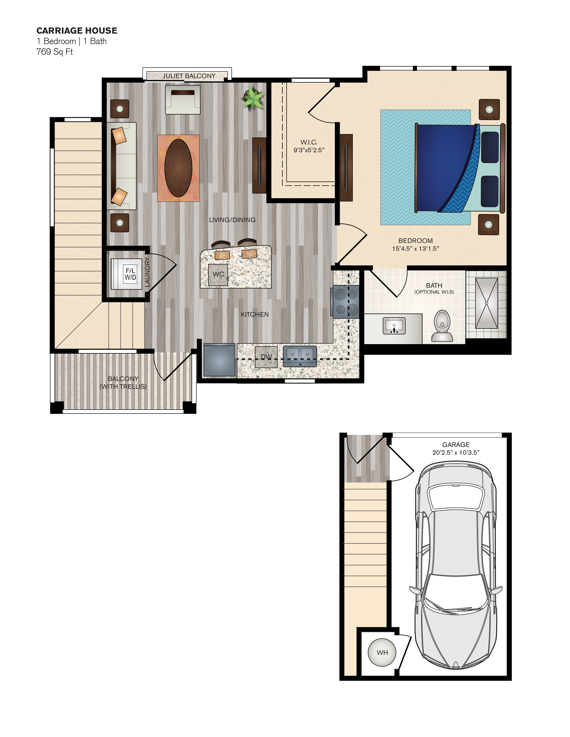 The Vue at Creve Coeur Apartments - Floorplan - Carriage House 1
