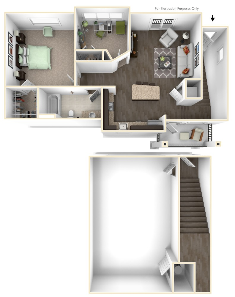 The Vue at Creve Coeur Apartments - Floorplan - Carriage House 2