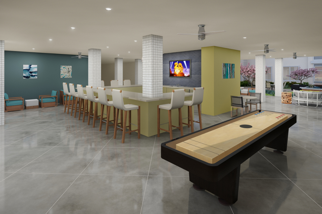 Game Room Rendering at the Vue at Creve Coeur Apartments in Creve Coeur, MO
