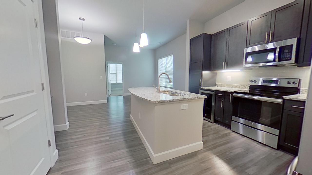 A1 Unit Kitchen Island at the Vue at Creve Coeur Apartments in Creve Coeur, MO