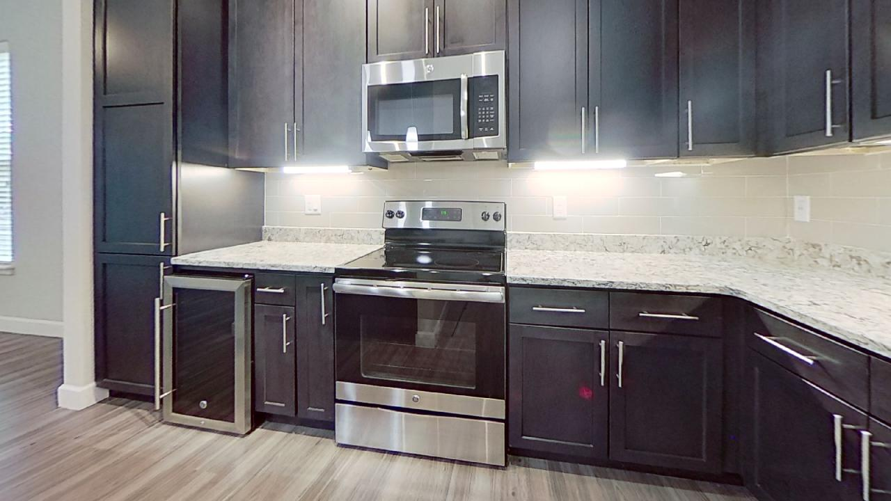 A1 Unit Furnished Kitchen at the Vue at Creve Coeur Apartments in Creve Coeur, MO