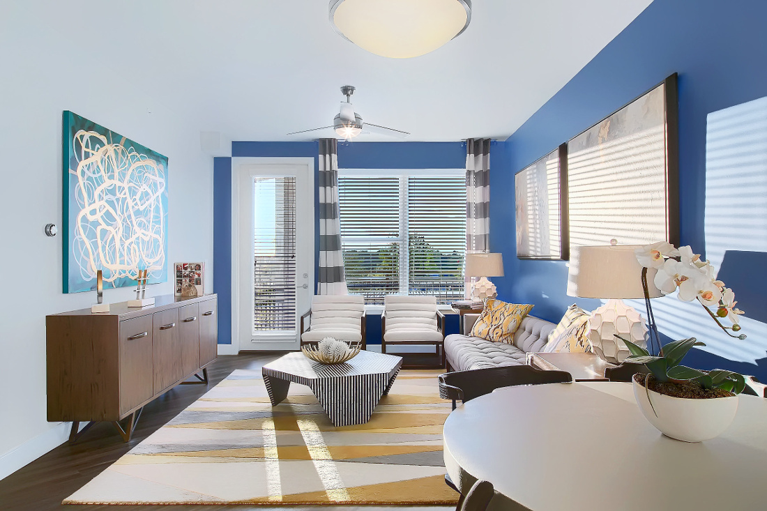 A3 Unit Living Room at the Vue at Creve Coeur Apartments in Creve Coeur, MO