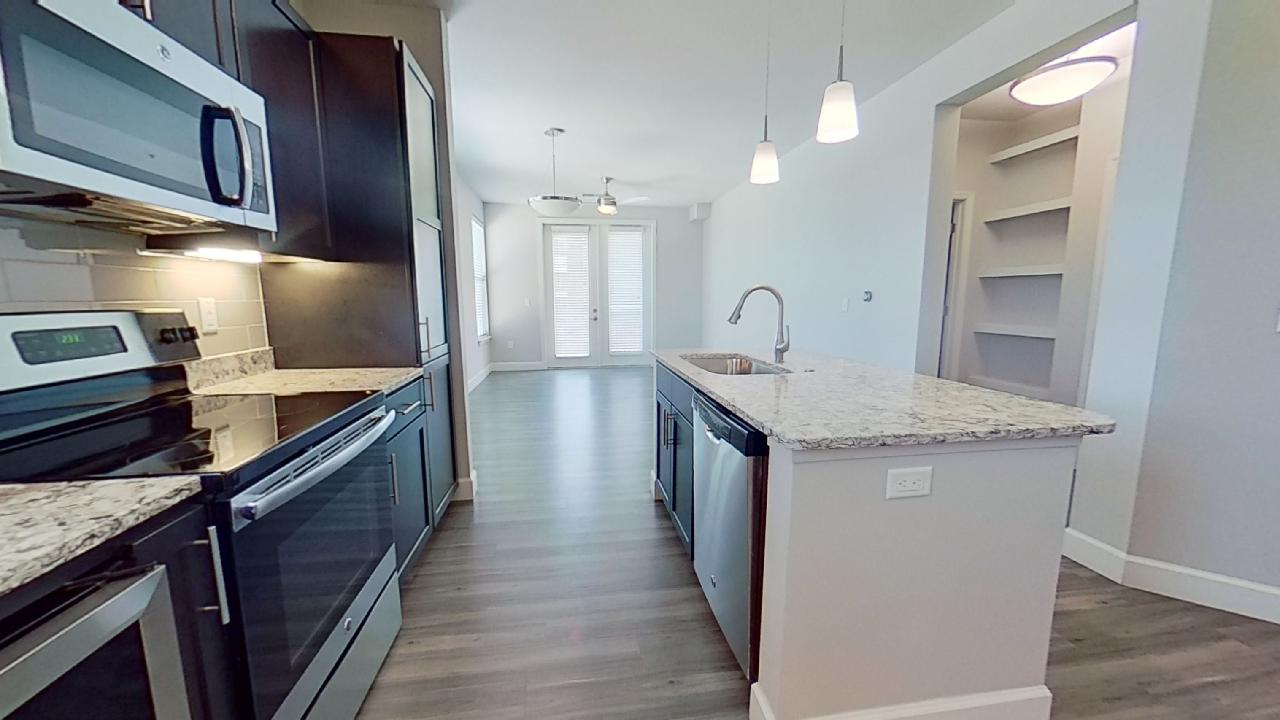 Island Kitchen at the Vue at Creve Coeur Apartments in Creve Coeur, MO