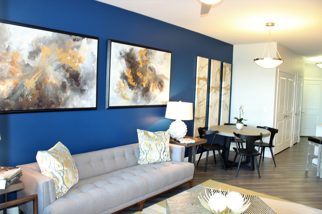 A3 Living Room at the Vue at Creve Coeur Apartments in Creve Coeur, MO