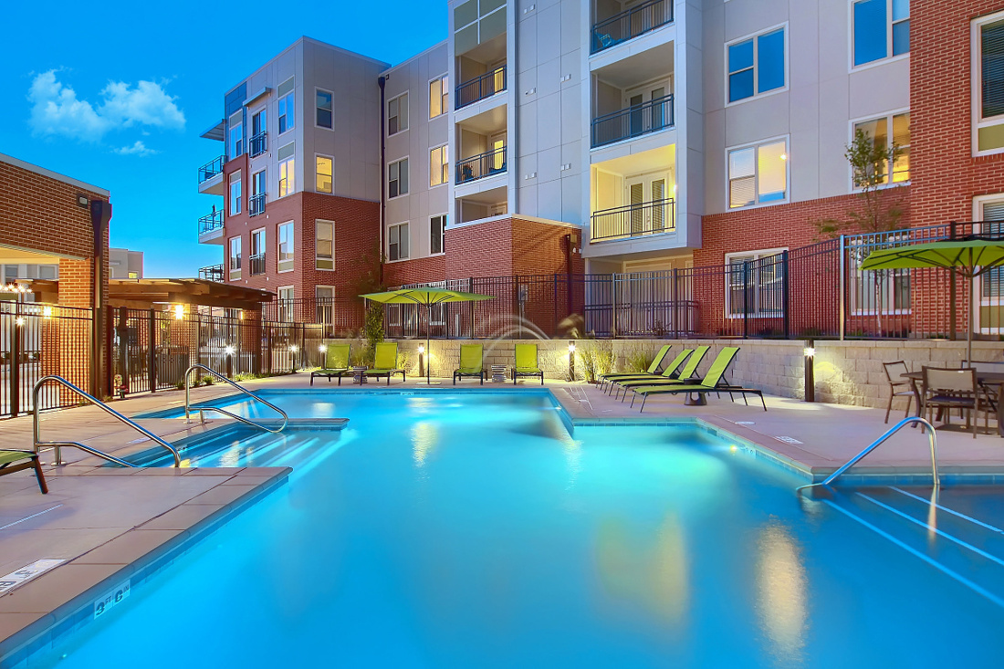 Sparkling Pool at the Vue at Creve Coeur Apartments in Creve Coeur, MO