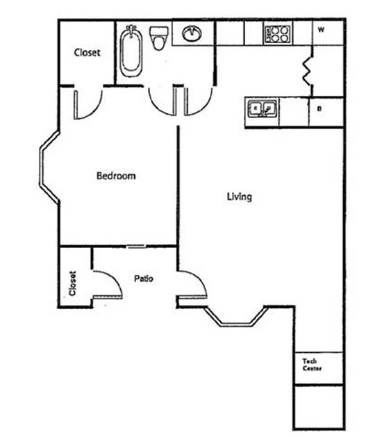 The Crossing Apartments - Floorplan - Downstairs - One Bed/One Bath