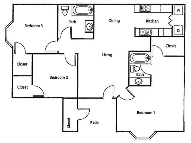 The Crossing Apartments - Floorplan - Downstairs - Three Bed/Two Bath