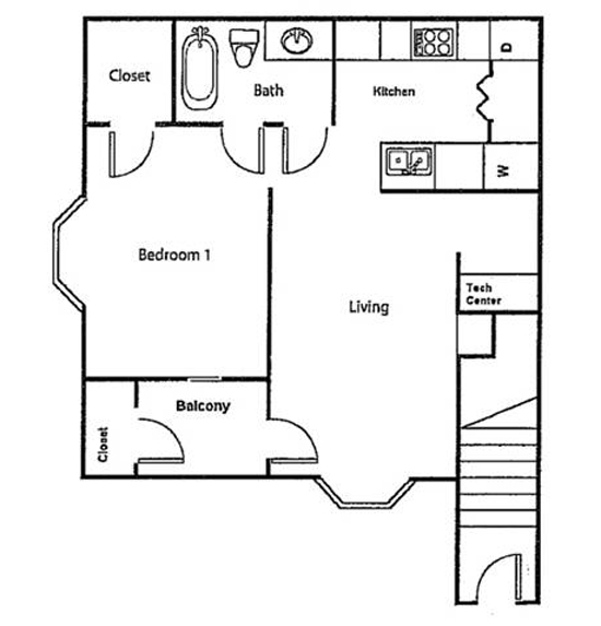 The Crossing Apartments - Floorplan - Upstairs - One Bed/One Bath