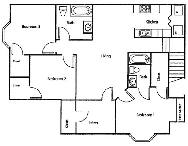 Floorplan - Upstairs - Three Bed/Two Bath image