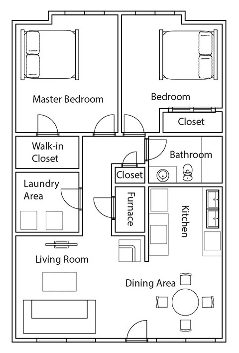 Crystal Ridge Apartments & Townhomes - Floorplan - 2BR