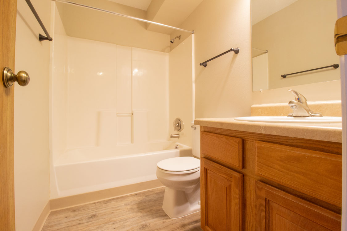 Bathroom at Crystal Ridge Apartments in Davenport, Iowa