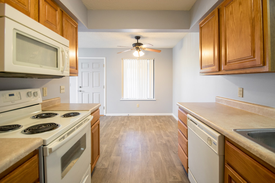 Renovated Kitchen & Dining at Crystal Ridge Apartments in Davenport, IA