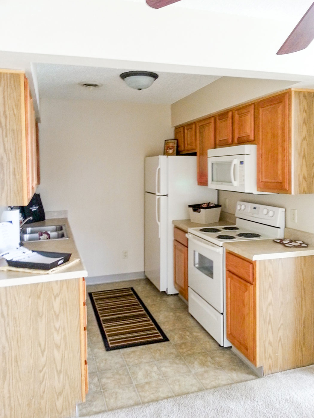 Kitchen at Crystal Ridge Apartments in Davenport, IA.