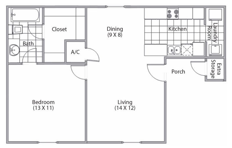 Cypress Bend - Floorplan - 1 Bed and 1 Bath
