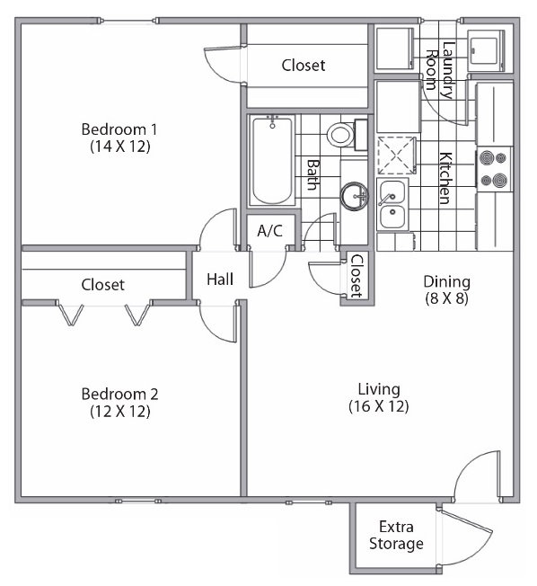 Cypress Bend - Floorplan - 2 Bed and 1 Bath